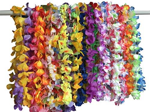 YEENI 36PCS Hawaiian Luau Leis Halsketten - Tropical Hibiscus Blumen Tiki Sommer Pool Party Favors liefert Dekorationen