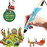Penna Stampa 3D,SHONCO Penne per stampa 3D stereoscopica stampante con schermo LCD display per disegno 3D di modellazione Arts Crafts Stampa con 3 colori 1,75 millimetri ABS Stampa filamento(blu)