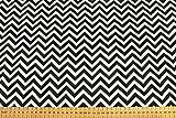 Polycotton-Stoff, bedruckt mit Zickzack-Muster, Polyester-Baumwoll-Mix schwarz