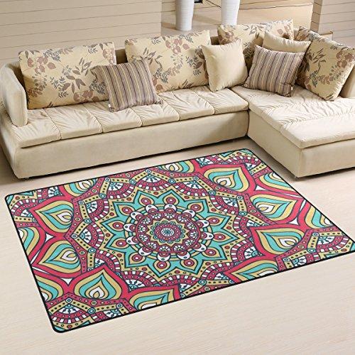 COOSUN étnico Floral Mandala patrón área Alfombra Alfombra Alfombra de Suelo Antideslizante Doormats para salón o Dormitorio, Tela, 31 x 20 Inch