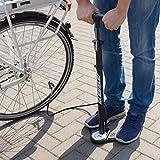 Gregster Fahrrad Luftpumpe in schwarz, Standluftpumpe mit Manometer und Universal Doppelpumpenkopf, inkl. Adapter Set -