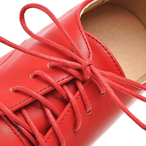 AllhqFashion Femme Pu Cuir Rond à Talon Haut Couleur Unie Lacet Chaussures Légeres Rouge