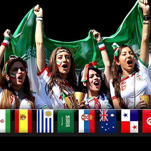 World Cup Wimpelkette FIFA Fußball 2018Stoff Wimpelkette 10m mit 32Flaggen für Fußball Fans