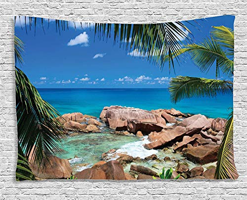VTXWL Farm House Decor Tapestry, Idyllic Rocky Coast Island Palm Leaves Paradise Clouds Relax Calm Photo, Wall Hanging for Bedroom Living Room Dorm, 80 W X 60 L Inches, Turquoise (Cross Leaf Palm)