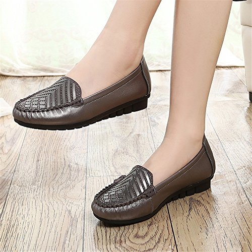 Chaussures Dames Chaussures Chaussures Automne Mère Unique Chaussures Plates Gris foncé