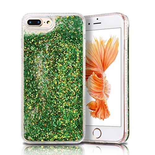 Cover iPhone 7 plus Custodia iPhone 7 plus Liquido Anfire Trasparente Rigida Duro Plastica PC Case per Apple iPhone 7 plus (5.5 Pollici) Sabbie Mobili Shell 3D Bling Glitter Floating Quicksand Copertu Verde