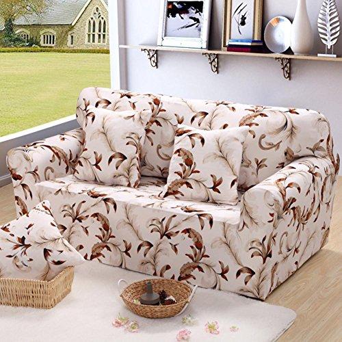 Housse de canapé élastique Printed Flowers Slipcover Tight Wrap Tout-inclus Canapé d'angle Canapé Housse de meuble extensible 1/2/3 places , 001 , 3 seater:190-230cm
