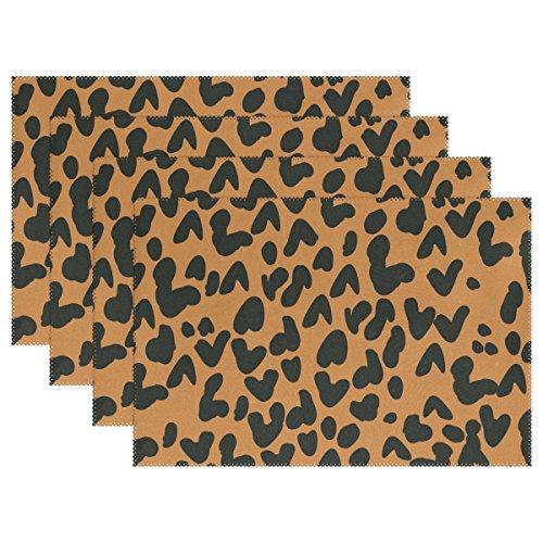 Platzsets mit Leoparden-Druck von Coosun - hitzebeständige, schmutzresistente, rutschfeste Platzsets aus waschbarem Polyester - 30 x 45 cm, 4er Set