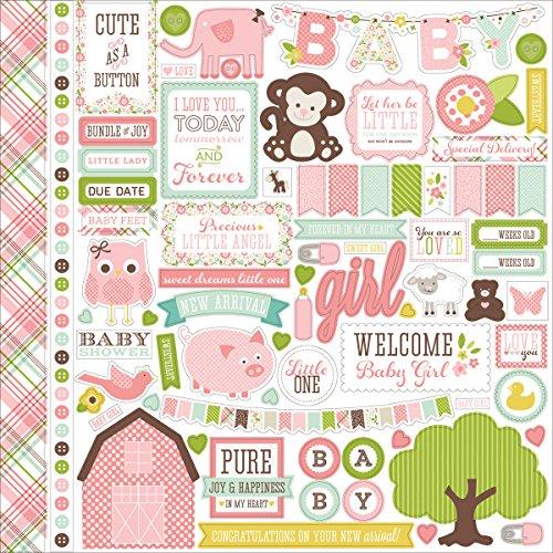 Echo Park Paper Bundle of Joy/Eine Neue Ergänzung Baby Girl Element Karton Aufkleber, 30,5cm von 30,5cm - Neues Bundle