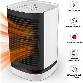 Mini Radiateur Soufflant Ceramique AGM Ventilateur Oscillant 950W Protection Contre Surchauffe Securite