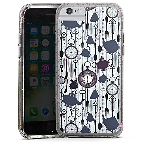Apple iPhone 6s Bumper Hülle Bumper Case Glitzer Hülle Tee Uhr Zeit Muster Pattern Bumper Case Glitzer rose gold