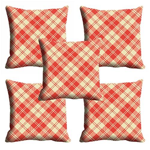 meSleep Red Checks Cushion Cover (16x16) - Set of 5