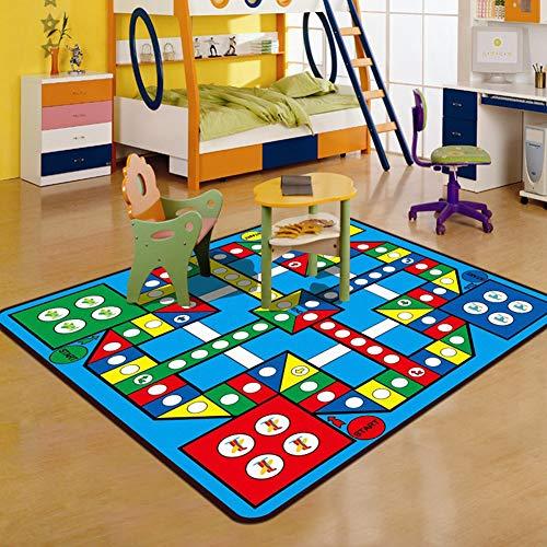 Thole Teppich Kurzflor Modern 0.5cm Wohnzimmer Schlafzimmer Waschbar Rutschfester Boden Polyester Digital Brief Spielmatte Rechteck Kinder krabbeldecke,Blue,200x300cm