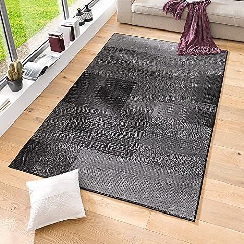 Velours Design Teppich 'Marble' | Kurzflor grau, taupe, braun, cacao, Farbe:schwarz, Größe:160x230 cm