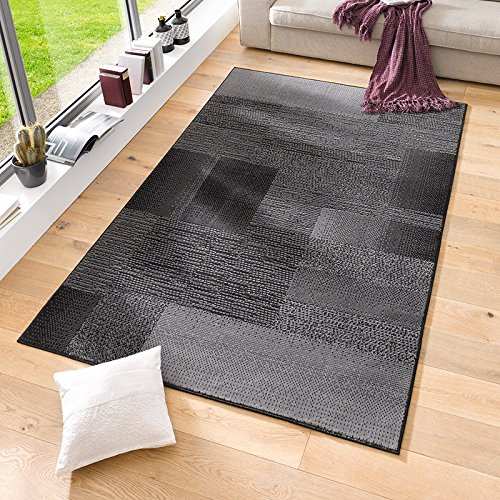 Velours Design Teppich 'Marble' | Kurzflor grau, taupe, braun, cacao, Farbe:schwarz, Größe:120x170 cm