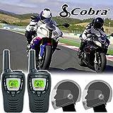 Comtech 8Km Cobra MT645 Motorrad 2 Weg Radio Gegensprechanlage Set + CM-110CF PTT Schließen Gesicht Helm Headsets