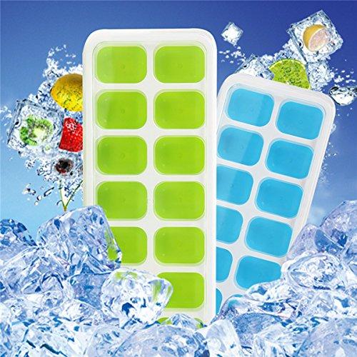 【Upgrade Version】 4 Stück Eiswürfelform Silikon Eiswuerfel Form Eiswuerfelbehaelter mit Deckel Ice Tray Ice Cube 14-Fach, Kühl Aufbewahren, LFGB Zertifiziert, Green Blau