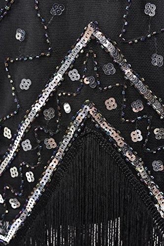 PrettyGuide Femmes 1920 Col V perles Paillettes Art Déco Gatsby Inspiré Garçonne Robe Noir