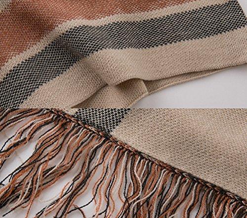 NiSeng Femme Tassel Tricoter Châle Mode Tricots Cardigan Manches De Chauve-Souris Longue Pull Manteau Beige