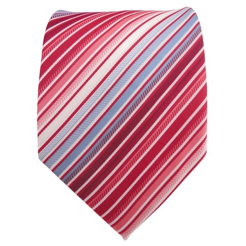 XXL Designer Krawatte rot blau hellblau weiß creme gestreift - Binder Tie