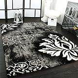 Paco Home Tappeto Design Moderno Lavorato A Mano con Bordo Grigio Bianco Nero, Dimensione:80x150 cm