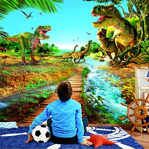 Glorious.Q Fototapete Wand Foto Tapete Wand Bild Seidetapete Dinosaurier - Altertum - Dschungelflüsse - Zerstörung 300X210Cm