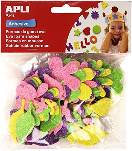 Pack de 48 flores en goma Eva con purpurina