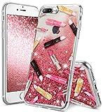 OCYCLONE Coque iPhone 7 Plus Fille, iPhone 8 Plus Fille, Rosa Paillette Liquide...