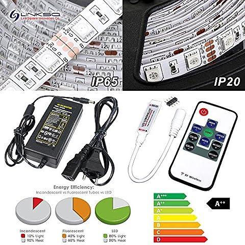 5m RGB LED Strip Licht Streifen Set mit 300 LEDs (Mehrfarbig SMD 5050) inkl. 10 Tasten RF Fernbedienung, Controller & 12V Netzteil von (Led Ultra Bright Streifen)