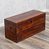 Massivholz Truhe TARUN Dark-Brown 82cm Akazie Holztruhe Holzkiste Couchtisch