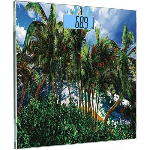Ultra Slim Hochpräzise Sensoren Digitale Körperwaage Hawaiian Dekorationen Gehärtetes Glas Personenwaage, Hawaii Insel Palmen Waldgrün Bewölkt Sommerhimmel Sonnenlicht Seelandschaft, Au
