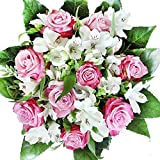 Lila-weißer Rosenstrauß mit Alstromerien - Blumenstrauß 'Überraschung zum...