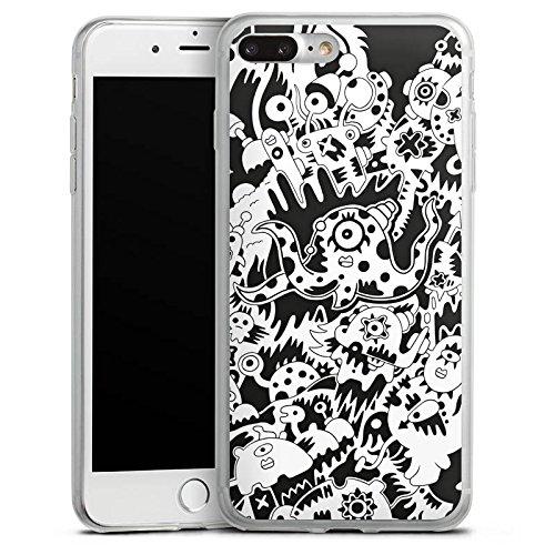 Apple iPhone 8 Plus Slim Case Silikon Hülle Schutzhülle Krake Schwarz Weiss Kreaturen Silikon Slim Case transparent