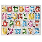 Giocattolo Educativo in legno, Puzzle Alfabeto con 26 Lettere,Peg Puzzle in Legno