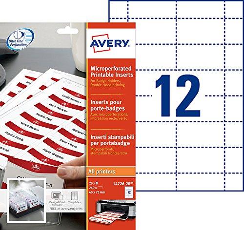 Avery L4726-20 Namensschild-Einsteckschilder 40 x 75 mm