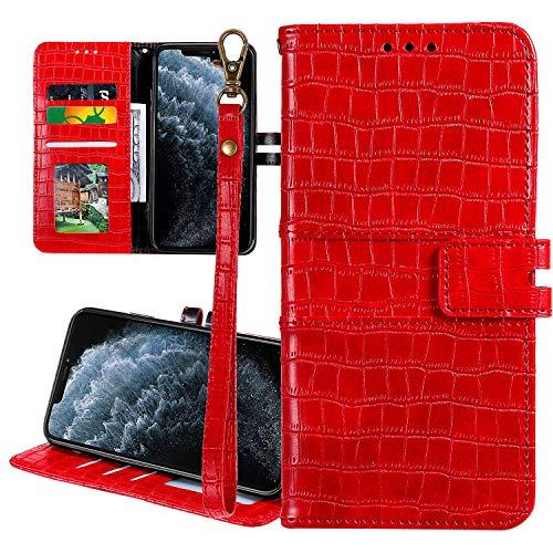 Nadoli Ledertasche für Huawei P Smart Z,Krokodil Muster Luxus Männer Frauen Pu Standfunktion Flip Handy Schutzhülle Brieftasche mit Kartenhalter und Handschlaufe,Rot