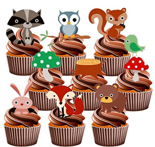 childrens-woodland-creatures-party-pack-36-cup-cake-toppers-edible-stand-up-decorations