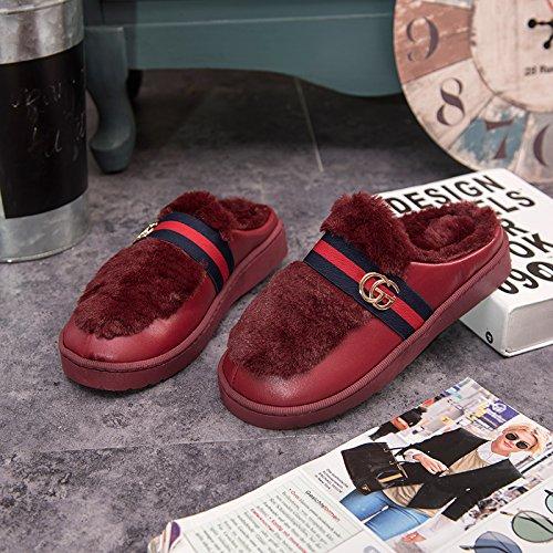 DogHaccd pantofole,Cotone felpato pantofole femmina soggiorno invernale coppie calde pantofole uomini e bella pelle pantofole indoor anti-slittamento non a pavimento Il vino è di colore rosso3
