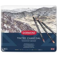 Derwent 2301691 Tinted Charcoal Pencils Tin - Set of 24 - Multicolour