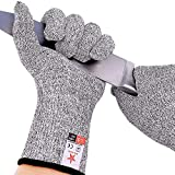 STAR JOINING Cut Resistant Gloves, Food Grade Level 5 Protection,Safety Kitchen and Outdoor Cut Gloves(Large)