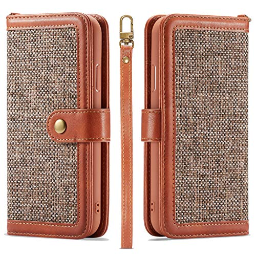 3C-LIFE iPhone XS Max-Compatible Wallet Case, Durable Slim Classic Design Ultra Strong Magnetic with Hand Strap Linen Flip Folio Wallet Case for iPhone XS Max [Brown]