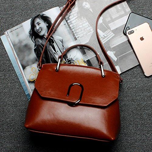 Weibliche Paket Öl Wachs Leder Tasche Schulter Schräge Kreuz Handtasche Braun