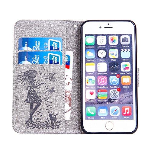 Für Apple IPhone 6 u. 6s Fall, prägeartiges Mädchen-Muster Rhinestone PU-lederner Mappen-horizontaler Schlag-Standplatz-Abdeckungs-Fall mit Halter u. Lanyard u. Kartenschlitzen ( Color : Red ) Gray