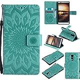 Guran Custodia in Pelle per Huawei Ascend Mate 7 6' Smartphone avere Carta Slot Supporto Protettiva Flip Case Cover-verde