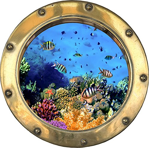 Youdesign h312 - adesivo trompe l'oeil, a forma di oblò con pesci, 30 x 30 cm