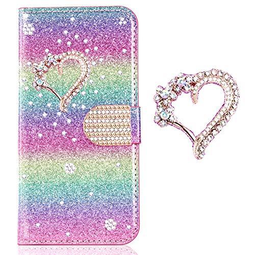 Bookstyle Bling Hülle für Huawei P30 Pro,Glitter Diamond Musterg Slim Klassisch Modisch Leder Stand Funktion Kartenfach Magnetverschluss Flip Wallet Handy-cover Rainbow Glitter