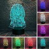 dwqerwre 3D Luz De Noche Eddard Stark Throne Juego de tronos Canción de hielo y fuego 3D 7 Cambio de color LED Luz de noche Lámpara de humor para dormir Hombre Niños Regalos