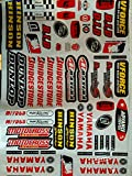 Autocollants Stickers MX FX Deco Motocross VTT ...YAMAHA DUNLOP BRIDGESTONE.... Planche de 60 stickers