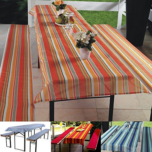 3-tlg Bierzeltgarnitur Auflagen Set inkl. Tischdecke für 50x220cm Biertische | orange gestreift