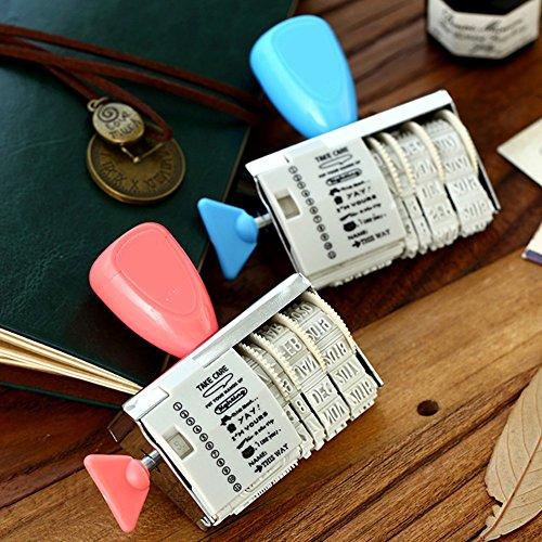 caxmtu 1Rad Gummi Briefmarken mit Worten Datum Roller Stempel Scrapbooking Werkzeuge Schule Stationery Aufkleber (Tag Datum-stempel)